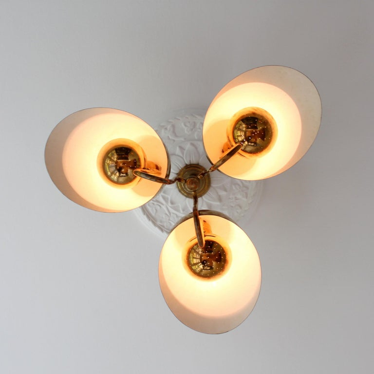 Enameled Exceptional Chandelier by Carl-Axel Acking, Sweden, 1940s For Sale
