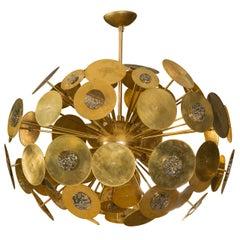 Exceptional Chandelier in Brass with Jasper Stone