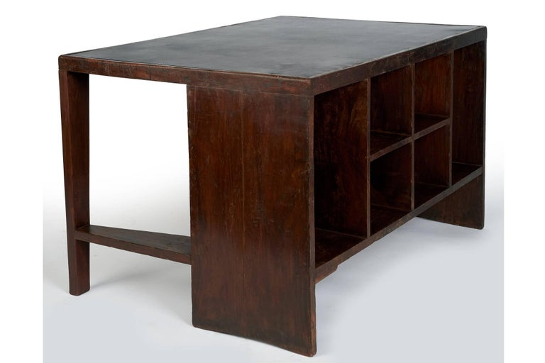 Mid-Century Modern Exceptional Chandigarh Pigeonhole Desk by Pierre Jeanneret, France/India c. 1957 For Sale