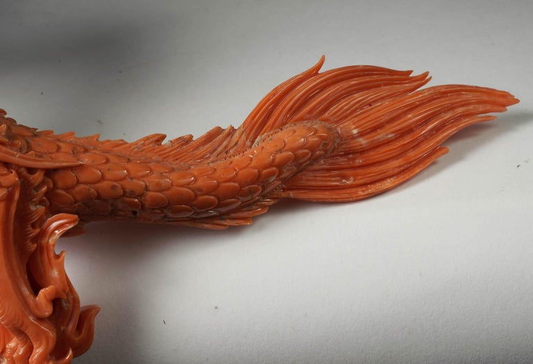 Exceptional Chinese Carved Coral Dragon with Fire, Qing Dynasty For Sale 7