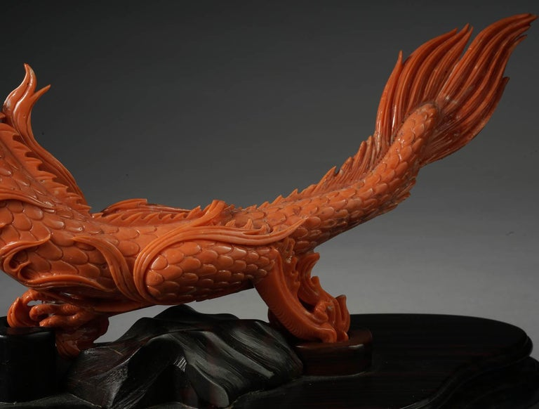 19th Century Exceptional Chinese Carved Coral Dragon with Fire, Qing Dynasty For Sale