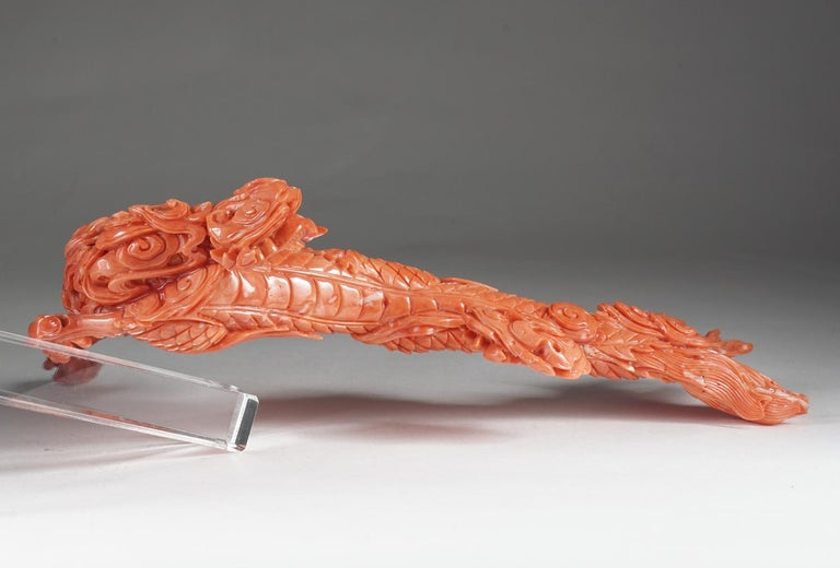 Exceptional Chinese Carved Coral Dragon with Fire, Qing Dynasty For Sale 1