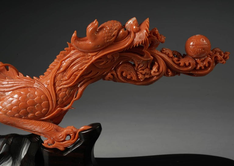 Exceptional Chinese Carved Coral Dragon with Fire, Qing Dynasty For Sale 2
