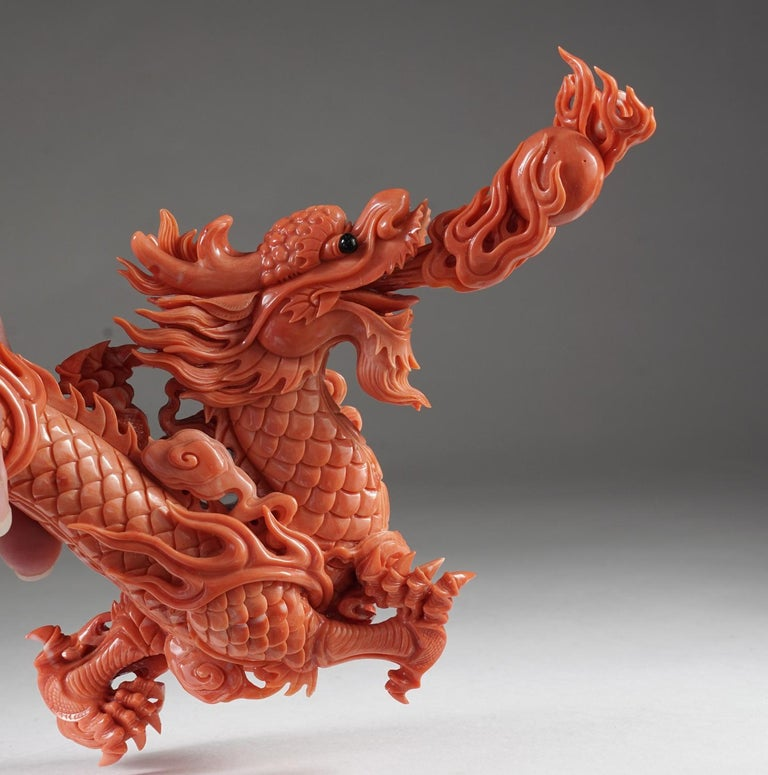 Exceptional Chinese Carved Coral Dragon with Fire, Qing Dynasty For Sale 4