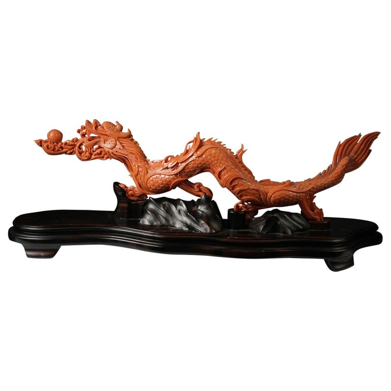 Exceptional Chinese Carved Coral Dragon with Fire, Qing Dynasty For Sale