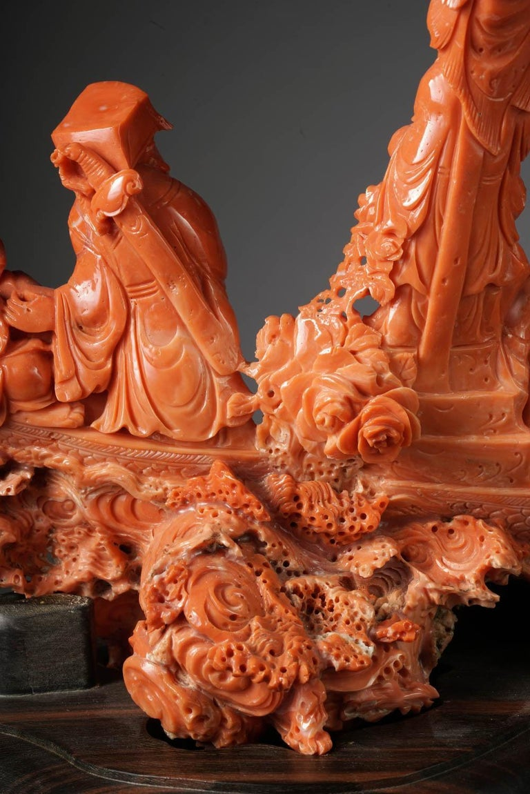 Exceptional Chinese Carved Coral Figural Group of a Boat with Eight Immortals For Sale 6