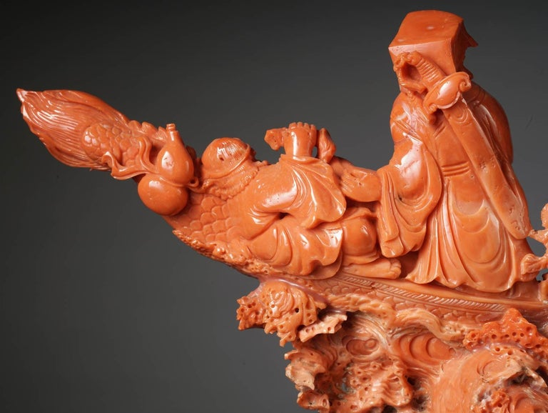 Exceptional Chinese Carved Coral Figural Group of a Boat with Eight Immortals For Sale 7