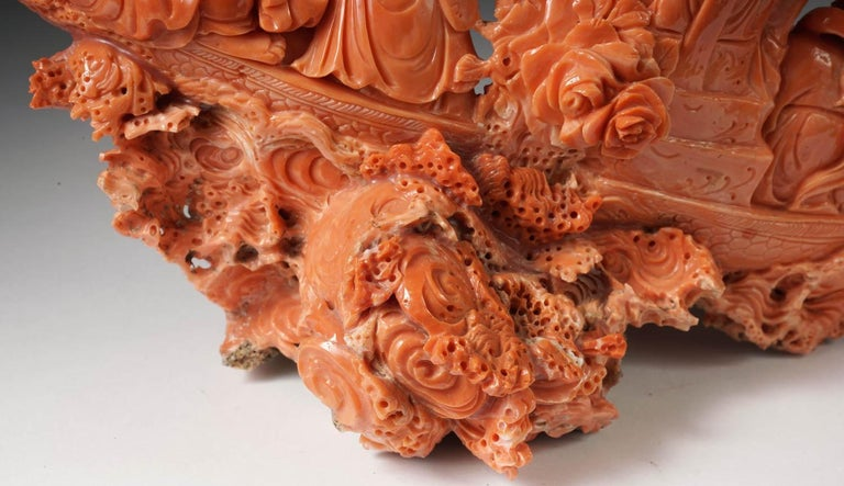 Exceptional Chinese Carved Coral Figural Group of a Boat with Eight Immortals For Sale 10