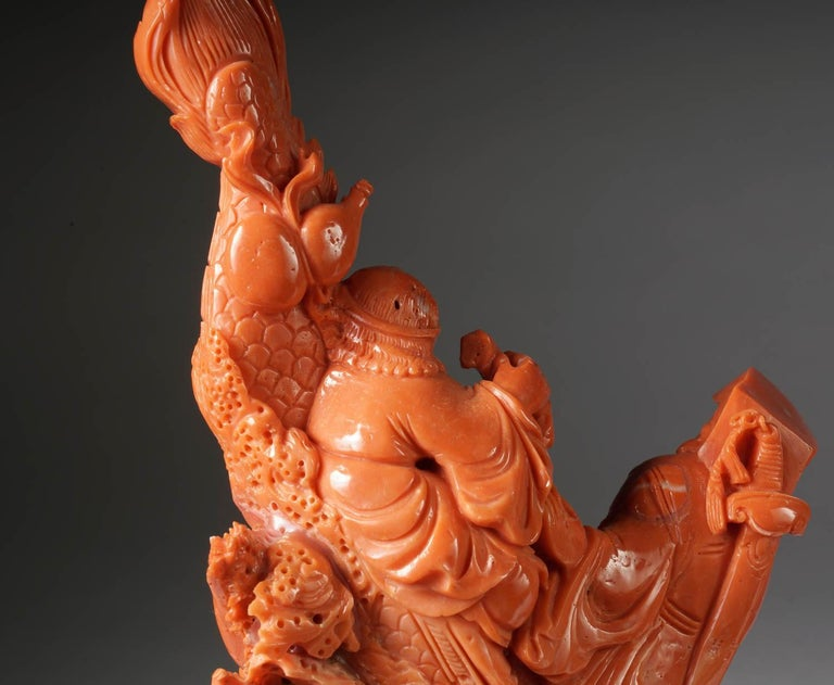 Exceptional Chinese Carved Coral Figural Group of a Boat with Eight Immortals For Sale 11