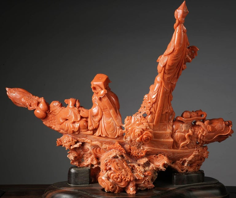 Exceptional Chinese Carved Coral Figural Group of a Boat with Eight Immortals For Sale 4