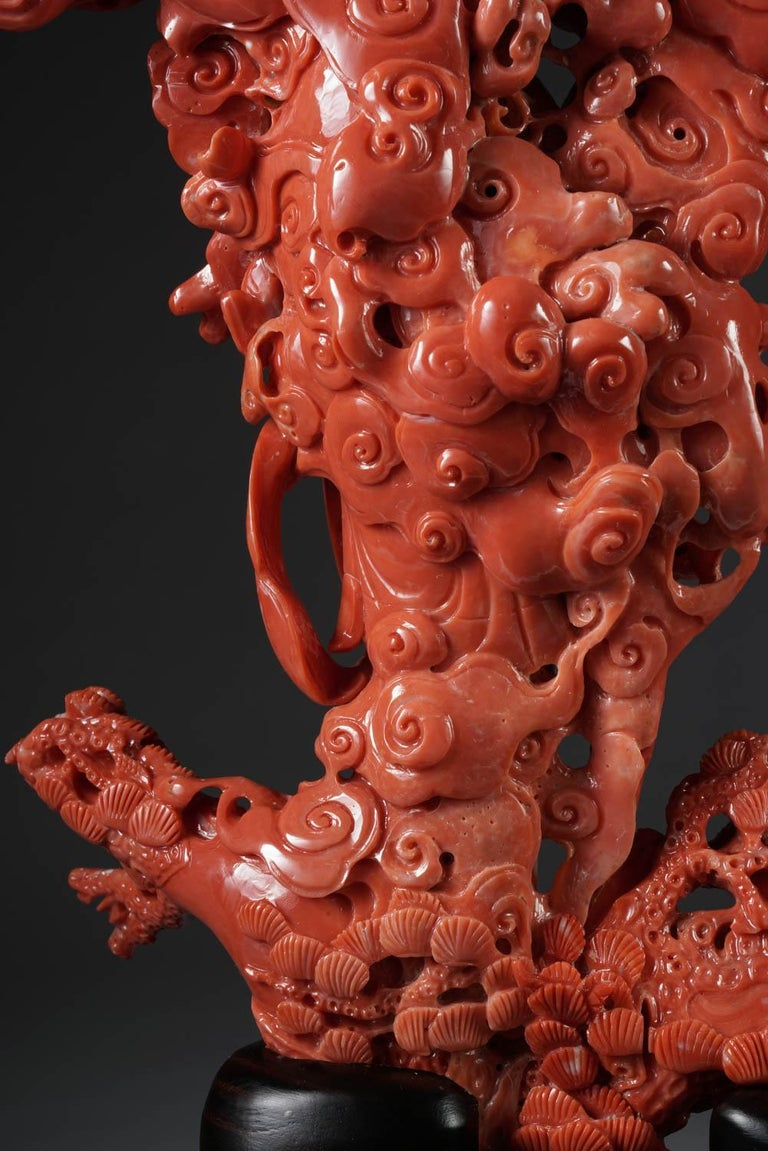 Exceptional Chinese Carved Coral Figural Group of a Guanyin Kwan Yin Phoenix For Sale 7