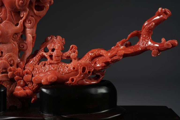 Exceptional Chinese Carved Coral Figural Group of a Guanyin Kwan Yin Phoenix For Sale 8
