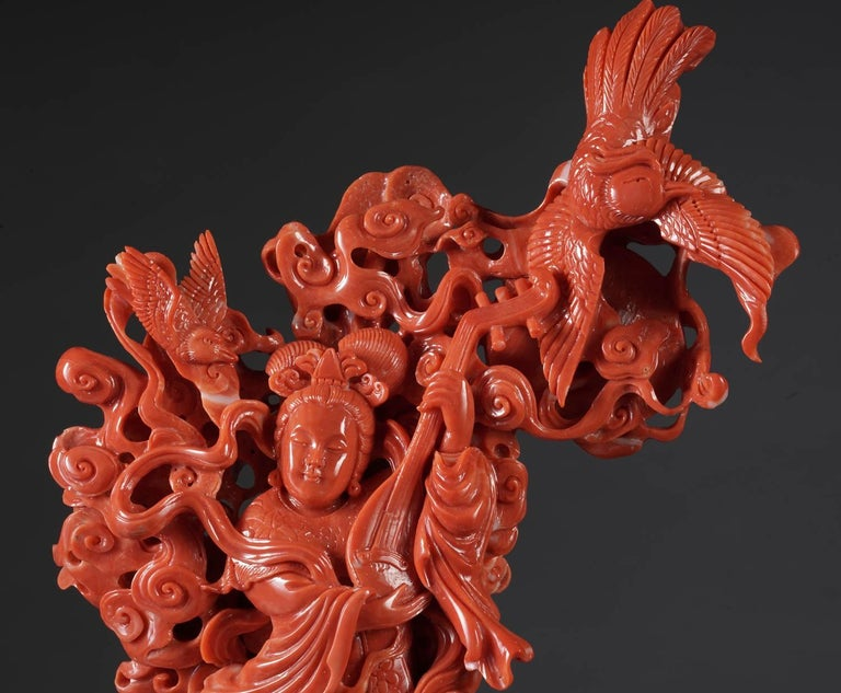 Exceptional Chinese Carved Coral Figural Group of a Guanyin Kwan Yin Phoenix In Excellent Condition For Sale In New York, NY
