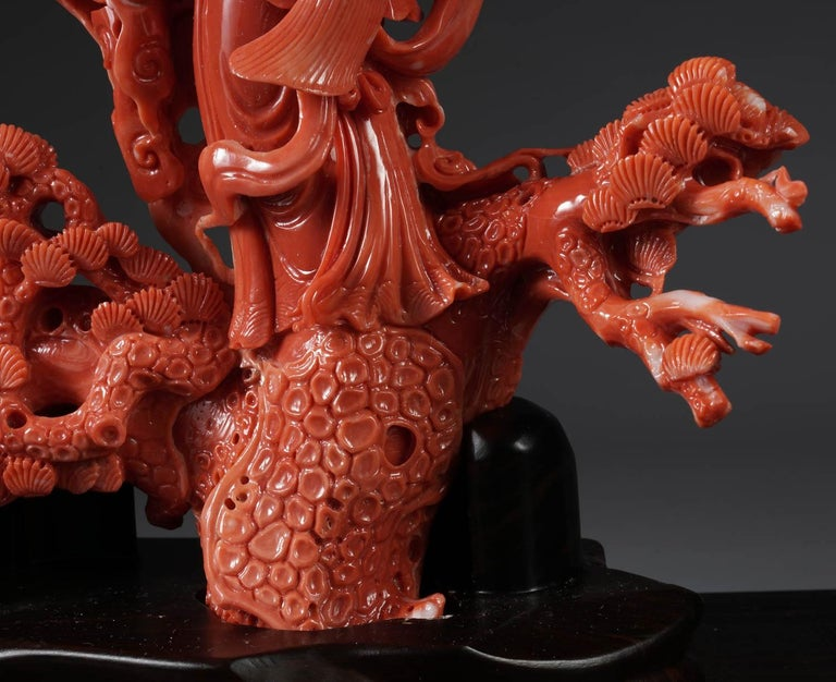 Exceptional Chinese Carved Coral Figural Group of a Guanyin Kwan Yin Phoenix For Sale 1