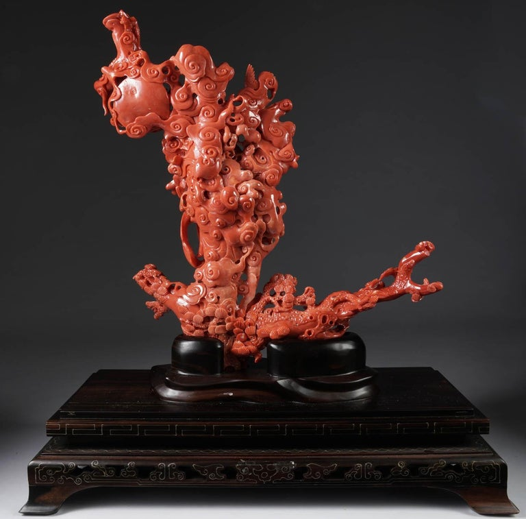 Exceptional Chinese Carved Coral Figural Group of a Guanyin Kwan Yin Phoenix For Sale 4