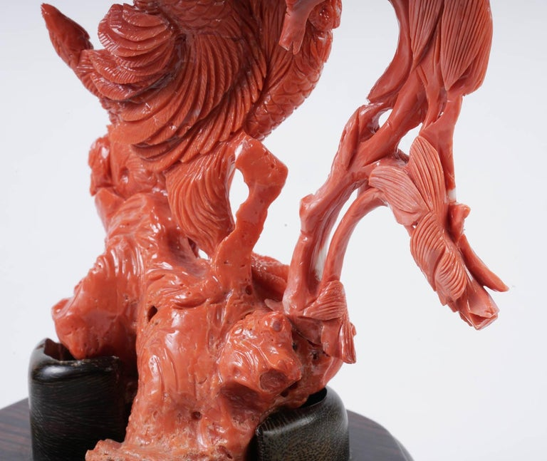 Exceptional Chinese Carved Coral Figural Group of a Rooster with Hens For Sale 4