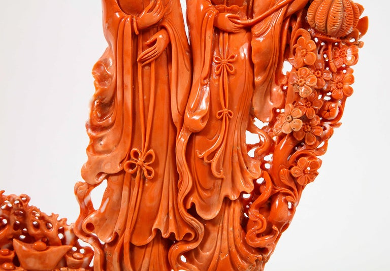 Exceptional Chinese Carved Coral Figural Group of Female Immortals For Sale 6
