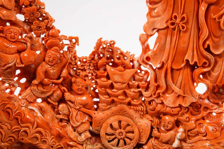 Exceptional Chinese Carved Coral Figural Group of Female Immortals For Sale 8