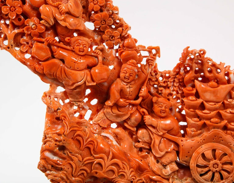 Exceptional Chinese Carved Coral Figural Group of Female Immortals For Sale 9