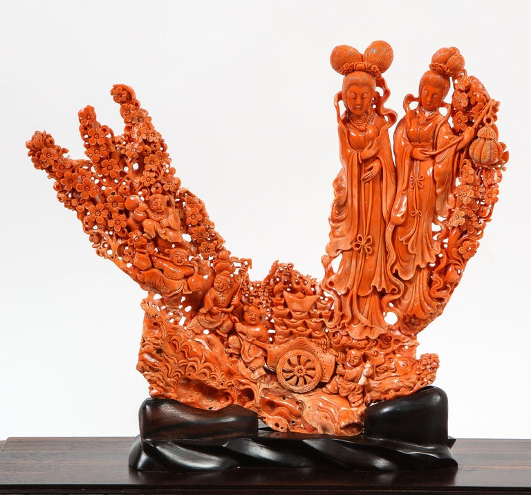 Exceptional Chinese Carved Coral Figural Group of Female Immortals In Good Condition For Sale In New York, NY