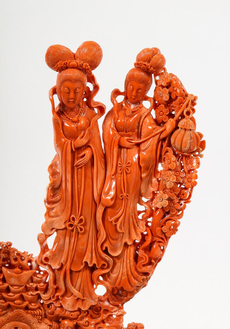 20th Century Exceptional Chinese Carved Coral Figural Group of Female Immortals For Sale