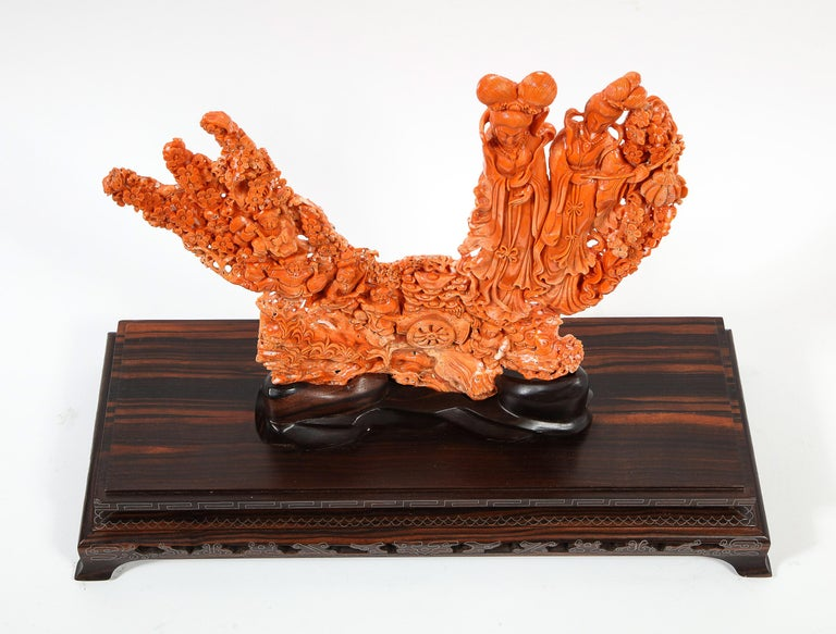 Exceptional Chinese Carved Coral Figural Group of Female Immortals For Sale 4