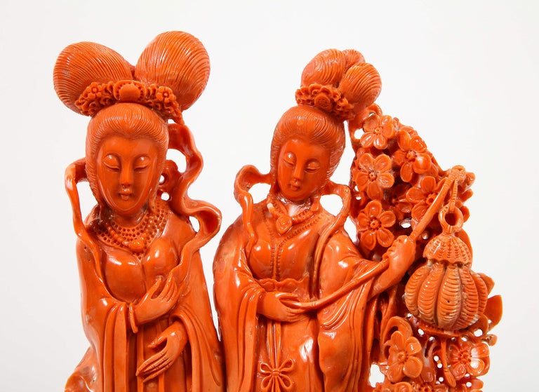 Exceptional Chinese Carved Coral Figural Group of Female Immortals For Sale 5