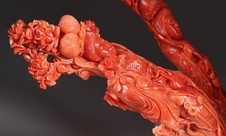 Exceptional Chinese Carved Coral Figural Group of Immortals For Sale 9