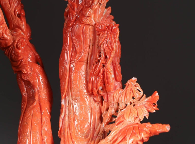 Exceptional Chinese Carved Coral Figural Group of Immortals In Good Condition For Sale In New York, NY
