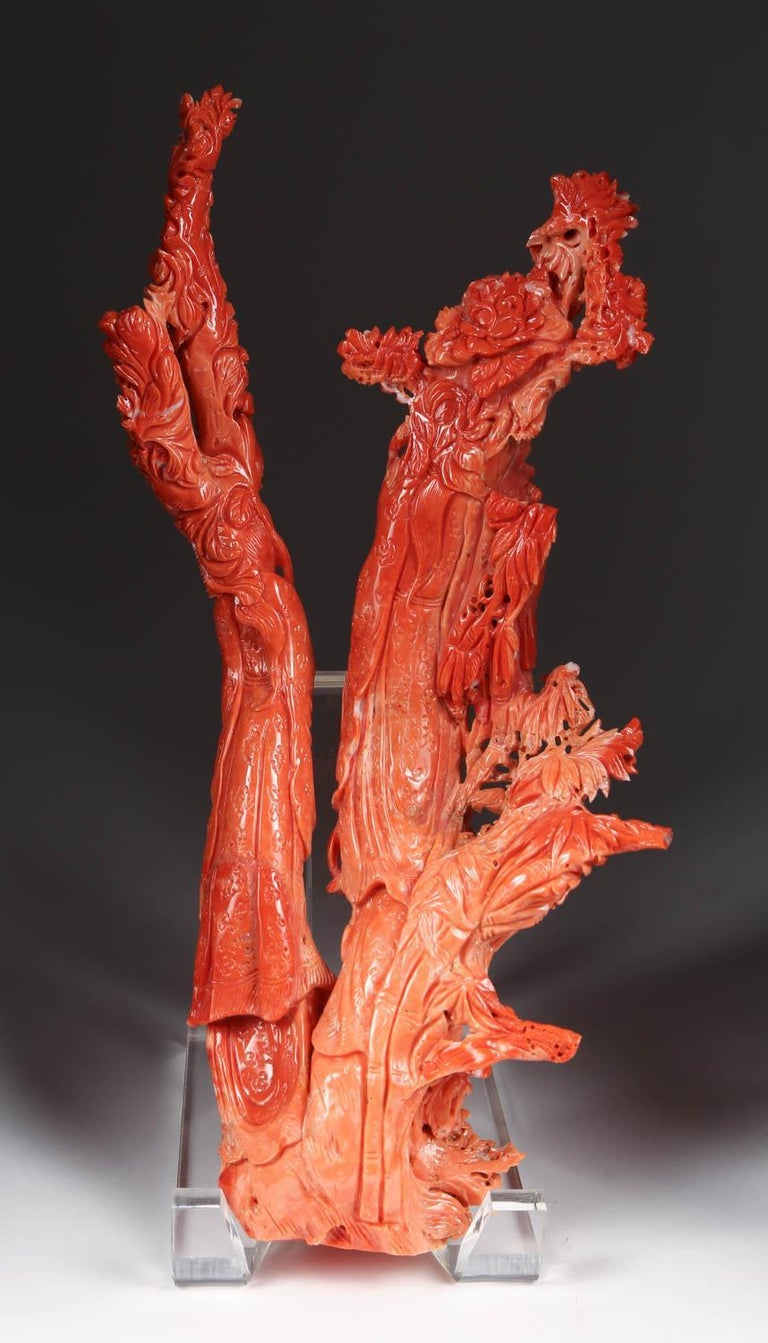 Exceptional Chinese Carved Coral Figural Group of Immortals For Sale 4