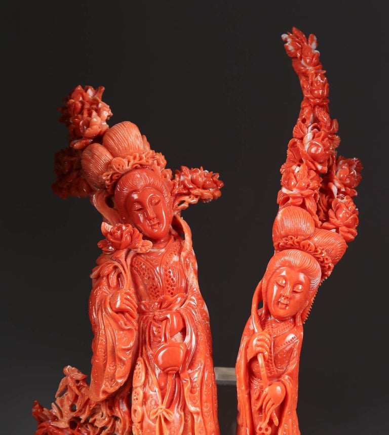 Exceptional Chinese Carved Coral Figural Group of Immortals For Sale 5