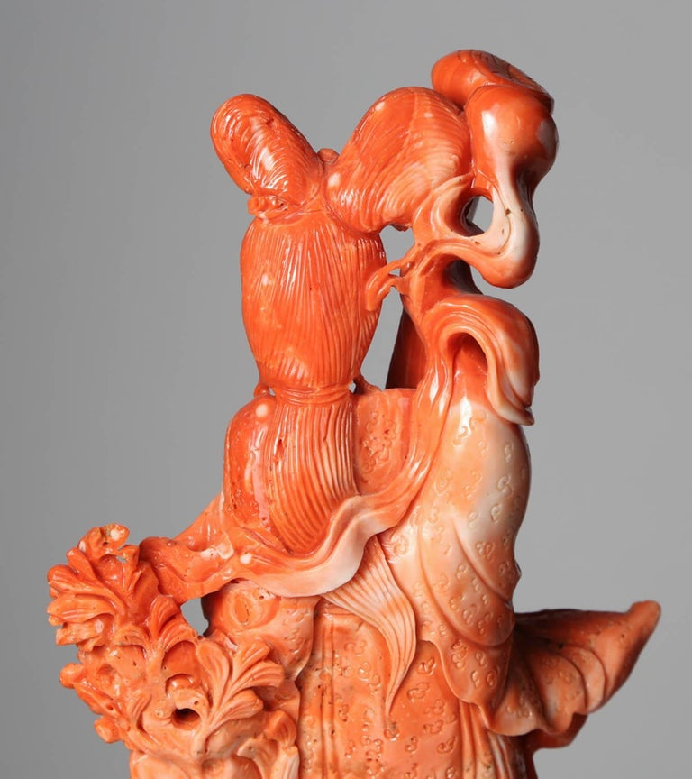 Exceptional Chinese Carved Coral Figure of a Guanyin with Deer For Sale 7