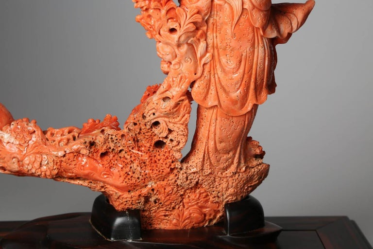Exceptional Chinese Carved Coral Figure of a Guanyin with Deer For Sale 8
