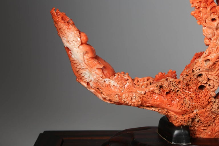 Exceptional Chinese Carved Coral Figure of a Guanyin with Deer For Sale 9