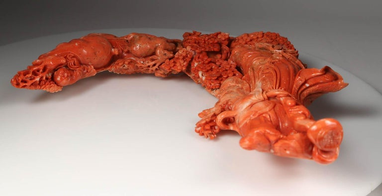 Exceptional Chinese Carved Coral Figure of a Guanyin with Deer For Sale 11