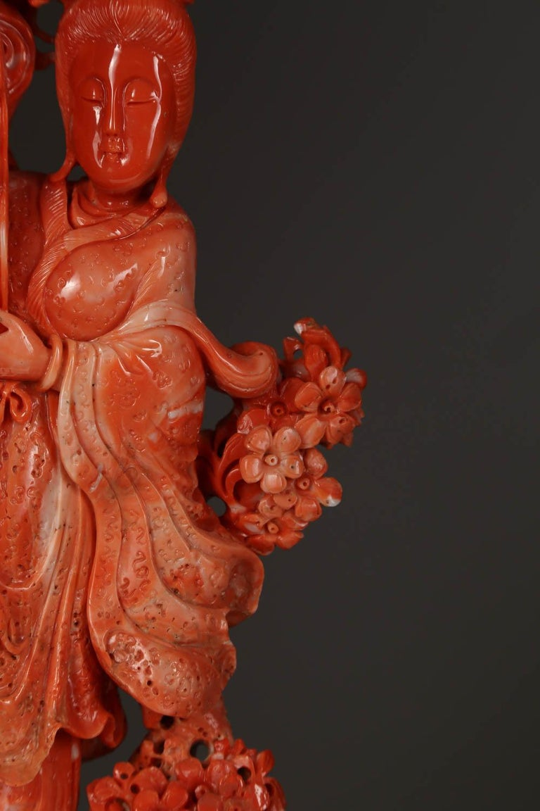 Exceptional Chinese Carved Coral Figure of a Guanyin with Deer For Sale 1