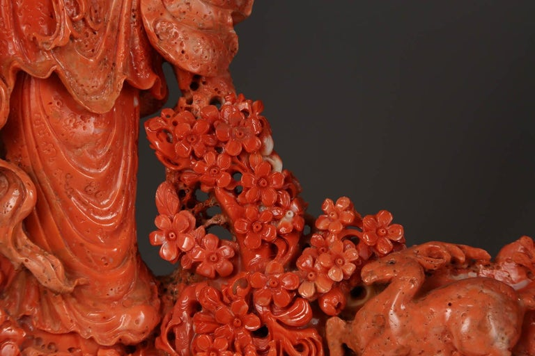 Exceptional Chinese Carved Coral Figure of a Guanyin with Deer For Sale 2