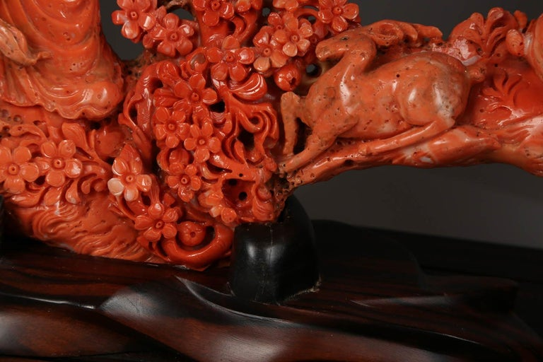 Exceptional Chinese Carved Coral Figure of a Guanyin with Deer For Sale 3