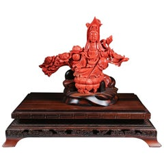 Exceptional Chinese Carved Coral Figure of a Seated Guanyin