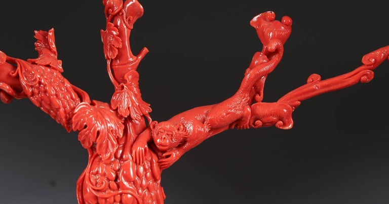 Exceptional Chinese Carved Coral Tree Branch with Monkeys and Squirrels, Qing For Sale 1