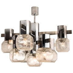 Exceptional Chrome Sputnik Chandelier in the Style of Sciolari, 1970s