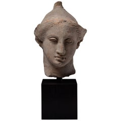 Exceptional Classical Greek Terracotta Head of a Youth, 4th Century BC
