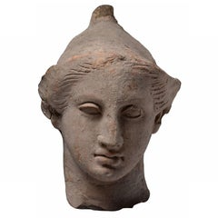 Exceptional Classical Greek Terracotta Head of a Youth