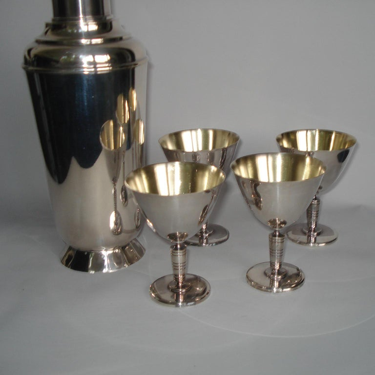 Silvered Art Deco Exceptional Cocktail Shaker and Sixteen Martini Goblets For Sale