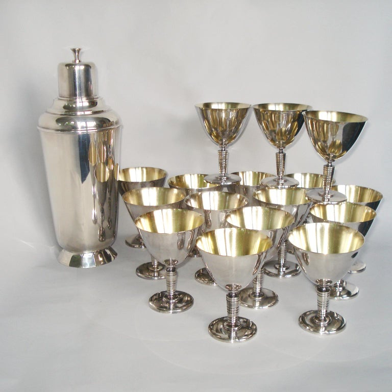 Alpaca Art Deco Exceptional Cocktail Shaker and Sixteen Martini Goblets For Sale