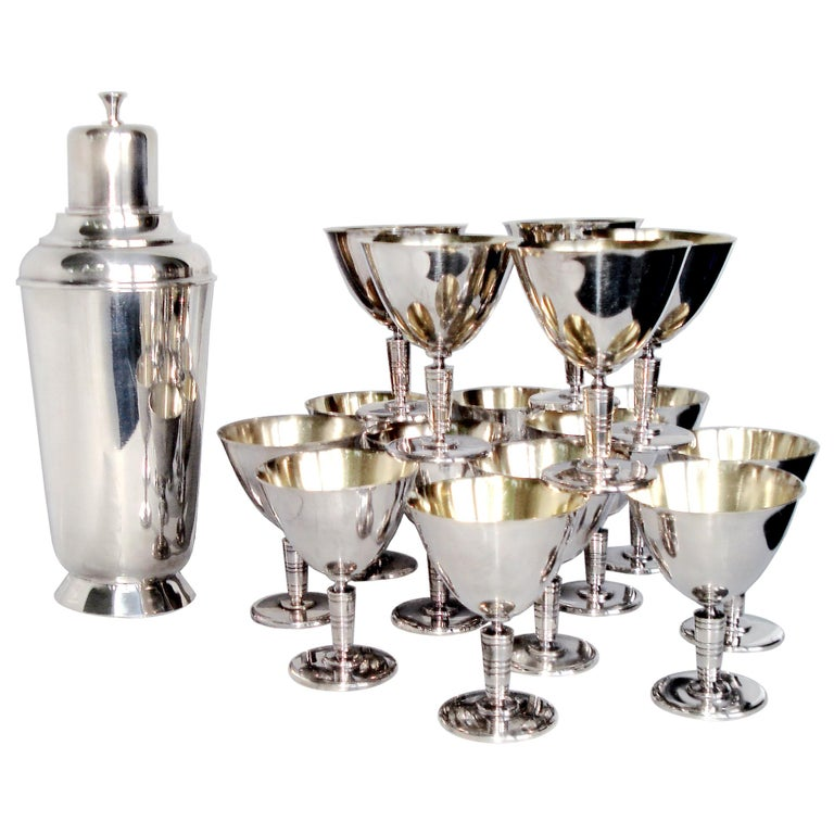 Art Deco Exceptional Cocktail Shaker and Sixteen Martini Goblets For Sale