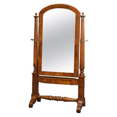 Exceptional Continental Olivewood Cheval Mirror