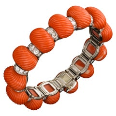 Exceptional Coral and Diamond Bracelet by Cartier