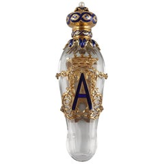 Exceptional Crystal Flask with Enameled Gold Box, Late 19th Century