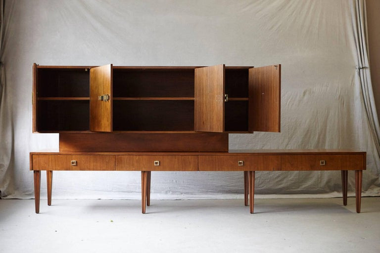 Custom Made Walnut Sideboard or Credenza with Brass Hardware, circa 1940s For Sale 1